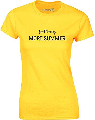Brand88 - Less Monday, More Summer, Mesdames T-shirt imprimé Daisy jaune/Noir