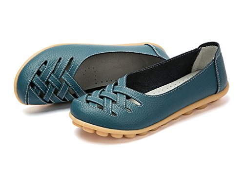 Auspicious beginning New Leather Moccasins Hollow Out Flats Loafers For Women Bleu