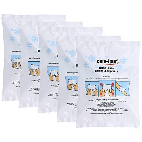 com-four® 5X Einweg Kälte-Sofort-Kompresse für Erste-Hilfe-Maßnahmen zur äußerlichen Anwendung, 21 x 15 cm (05 Stück - Set 2) - Kalte Kompresse Erste Hilfe