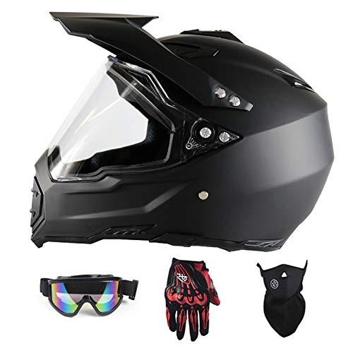 YXNB GRL Helm Motocross Helm Sport Moto Sport Double Sport Abschlag Fahrrad MTB, Motorradhelm Set Road Race Komplett mit, (Handschuhe, Brille, Masken, 4er Set),S(54~55cm)