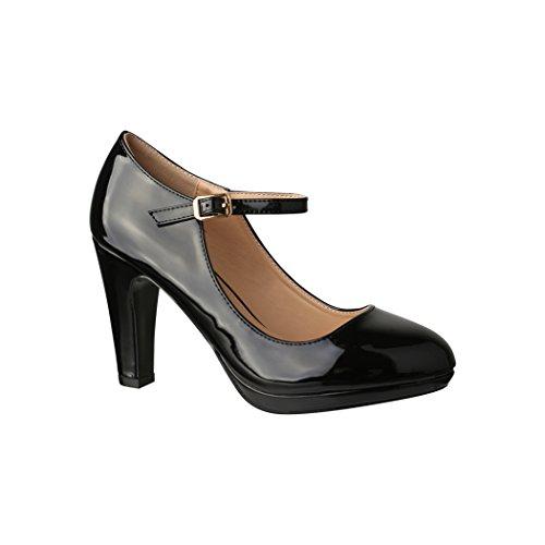 Elara Damen Pumps | Bequeme High Heels Lack-Optik | Vintage-Style | Abendschuh Trendy | Chunkyrayan | 118-7 Black-39
