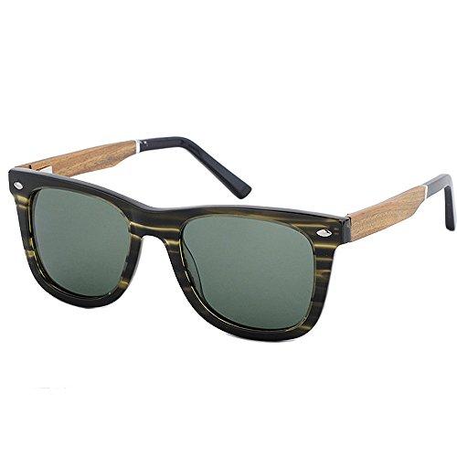 Ppy778 Sonnenbrille Zweifarbiger Glanz Holz Holzmaserung Muster Effekt Rahmen Verspiegelte Linse UV400 (Color : Green)