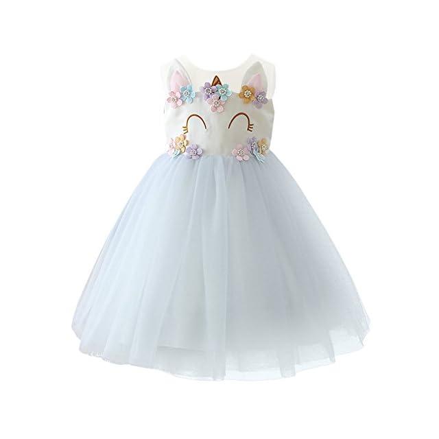 OBEEII Enfant Fille Costume Licorne Robe Florale Princesse Tutu Jupe  Canaval Déguisement de Photographie Cérémonie Anniversaire ... 7a8b6385460
