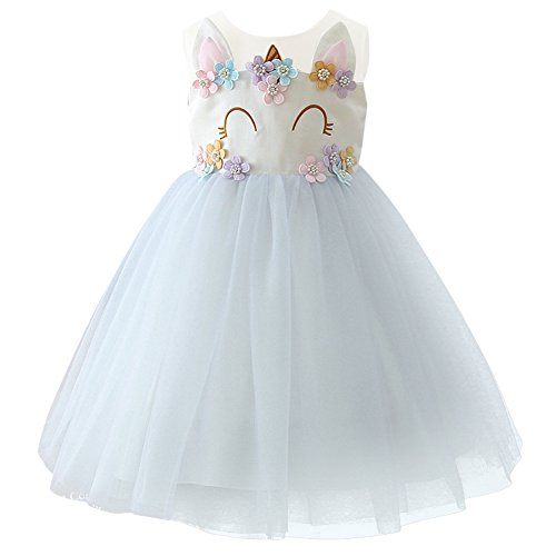 OBEEII Girls Unicorn Costume Cosplay Dress Party Outfit Fancy Dress Princess Tutu Skirt for Festival Performance Birthday Pageant Carnival Halloween Photo Shoot for Kids Teenagers 2-13 Years