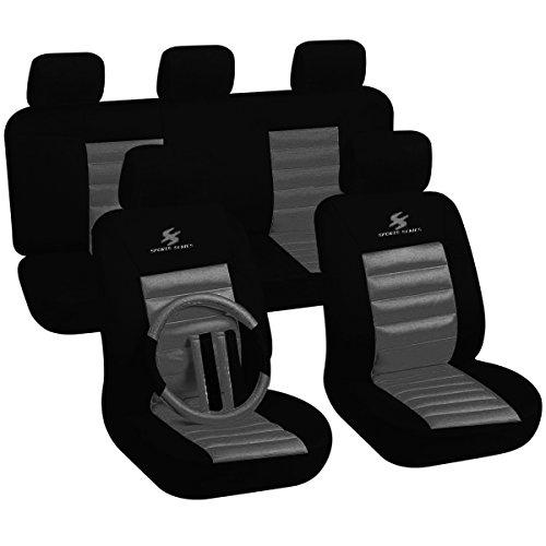 WOLTU 7265 Set Completo di Coprisedili per Auto Macchina Seat Cover Universali Protezione per Sedile di Poliestere Classici Nero+Grigio