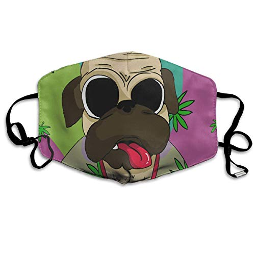 Women & Men Earloop Half Face Face Masks Face Mask Dustproof Mouth-Muffle - Cool Soft Windproof Hiking Mouth Mask for Kids Youth Boys Girls (Funny Hot Weed Leaf Pug)