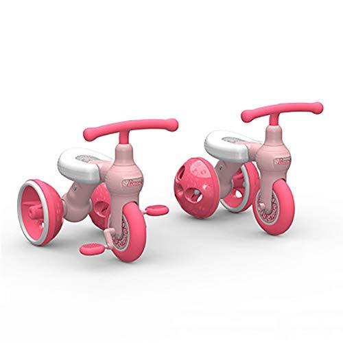 SHARESUN 3 in 1 Kinder Dreirad für 1 2 3 Jahre alt Jungen Mädchen, Kinder Trike Balance Bike Kind Trike mit 3 Rädern Kleinkind Walking Tricycles,Pink