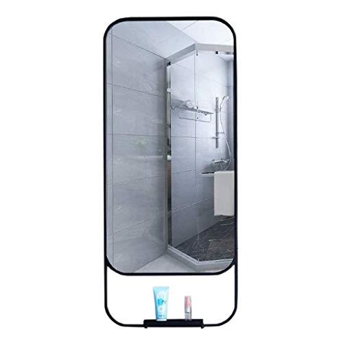 XHCP Dekorativer Wandspiegel für Badezimmer, Eingangsbereich, Kosmetikspiegel mit unterem Regal, Großformat in Schwarz (Eingangsbereich Spiegel Regal)