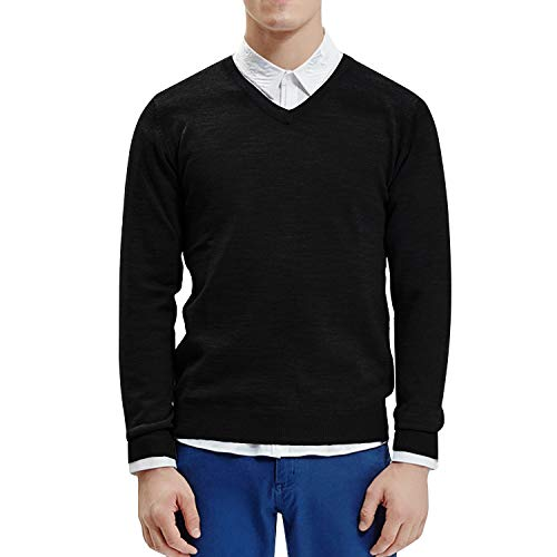 Lantch Herren Pullover mit V-Ausschnitt - Modern-Fit - Hochwertige Strickpullover Feinstrick Pullover Sweater