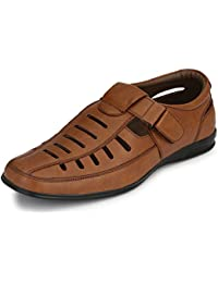 Afrojack Men's Decent Synthetic Leather Tan Sandals
