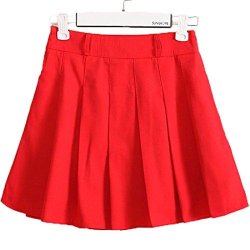 URSFUR hochwertige Rock Schulmädchen Kostüm knielang Damen Kostüm Kostüm Sexy Halloween Kostüme Fancy Dress Outfit - Rot (Fancy Kostüme Dress Schwangerschaft)