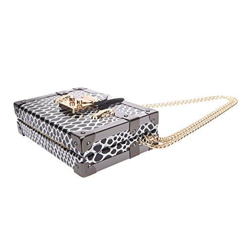 Bonjanvye Snake Pattern Chain Strap Shoulder Small Bag for Women Black Black