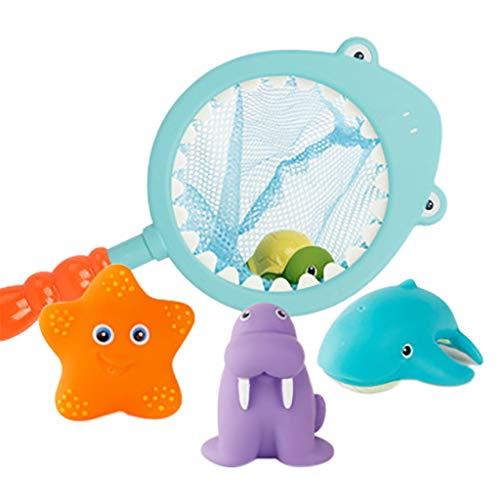 CHshe®--Baby Badespielzeug Boot Float Spielzeug, Fischerbad Spielzeug Meerestiere Für Fischen Float Mit Net Spiele Und Angelrute 6 Stücke Set Für Kinder 3 4 5 6 Jahre (B) (Float Boot Spielzeug,)