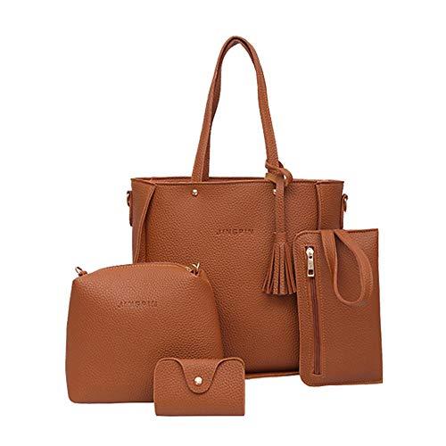 POPLY Frauen Vier Satz Handtasche Umhängetaschen Vier Stücke Einkaufstasche Crossbody Brieftasche Taschen(Braun,) (4 Stück Karo Kostüm)