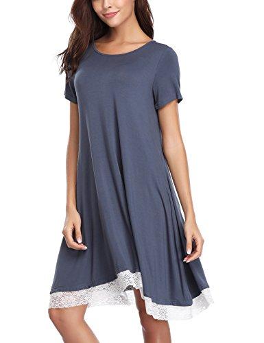 Haijiate pigiama cotone da donna,camicia da notte donna estivo,vestito gonna casual girocollo, manica corta s-xl, nero/blu/ grigio