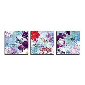 Leinwanddruck,Malerei Auf Leinwand Wandkunst,3 Panel Schmetterling Libellen Blumen Floral Poster,moderne Leinwanddruck…