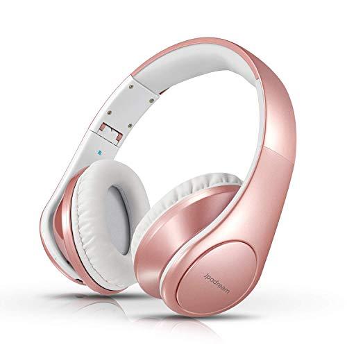 Jpodream Casque Bluetooth sans Fil Casque Audio Stéréo avec Microphone, Réglable & Pliable Casque Over Ear pour TV, PC, Ordinateurs Portables et Smartphones - Rose Gold