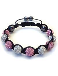 09-Ball Light Pink & White Shamballa Bracelet with strings