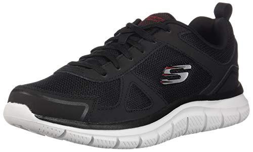 Skechers 52631 BKRD Track Herren Sneaker Mesh mit Memory-Foam-Textilinnensohle, Groesse 48 1/2, schwarz/weiß Mesh-oxford