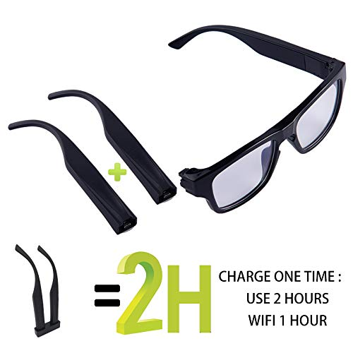 ViView G50S - 1080 HD 5MP CMOS sensor, 60minutes Video Recording Camera glasses (External SD card 32GB Max) Touch it -Free Your Hands - Outdoor/Training/Teaching/Kids/Pets (USB data cable)) ... Video-recording-system