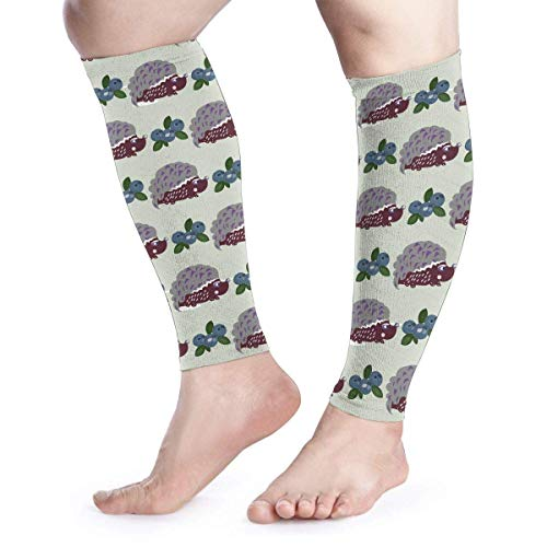 Bikofhd Men Women Cute Hedgehogs Blueberry Calf Compression Sleeve Print Leg Support Calf Guards Sleeves Calf Pain Relief for Running