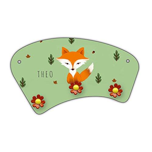 Wand-Garderobe mit Namen Theo und schönem Motiv mit Fuchs im Aquarell-Stil zur Einschulung für Jungs | Garderobe für Kinder | Wandgarderobe