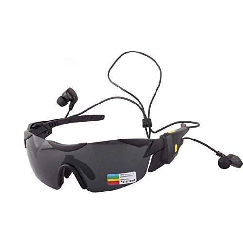 JIAAE Outdoor Sports Polarisierte Sonnenbrille 4.1 Bluetooth Smart Multifunktionale Ausrüstung Riding Anti-Glare Anti-UV-Semi-Frame-Brille, Black fram Grey Lens