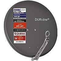 DUR-line Select 75cm/80cm Anthrazit Satelliten-Schüssel - 3 x Test + Sehr gut + Aluminium Sat-Spiegel