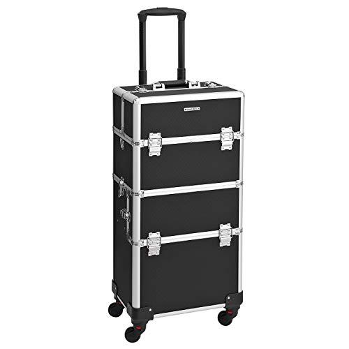 SONGMICS Alu Trolley Kosmetikkoffer Größe Schwarz mit Trolley Box case 2 in 1, Schwarz JHZ05B