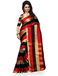 Welcome Fashion Cotton Silk Saree(1106 Red__Free Size)