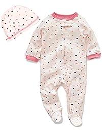 CANSHOW Baby Strampler Neugeboren Babykleidung Hochwertige Baumwolle Pyjama mit Hut Jumpsuit Outfits Set Säugling Junge Mädchen