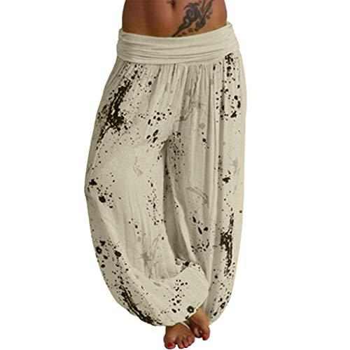 VRTUR Damen Hose Pluderhose Haremshose Hohe Taille Yogahose Freizeithose Weites Bein Blumen Sommerhosen Strandhose Pumphose Gelb 5XL