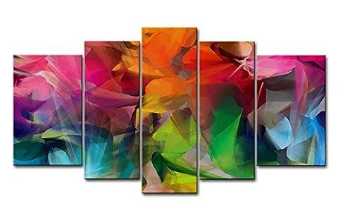 Fresh Look Couleur 5pièces Décoration murale Tableau coloré pétales des Impressions sur toile images à la abstraite à l'huile pour Home Décor Imprimé moderne Décoration pour chambre à coucher