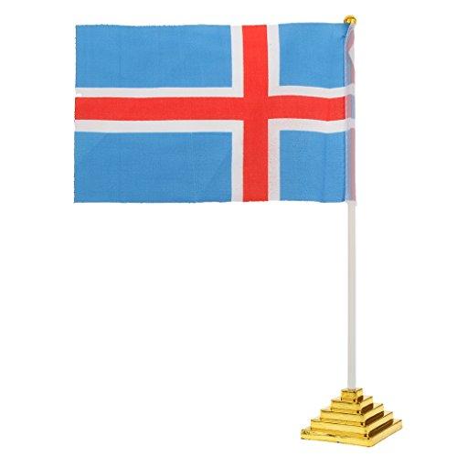 Frankreich EM 2016 Fahne Tisch Schreibtisch Flagge Polyester 21cm X 14cm - Iceland