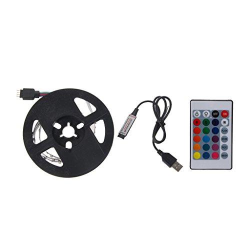 Hergon USB LED Streifen, 0.5M-2M Bunt Farben LED Licht mit 24 Key Remote für TV Hintergrundbeleuchtung,Ribbon Licht, Seil Beleuchtung,Küche LED-Beleuchtung,LED Streifen Lampe (0.5m) (Küche Led-seil-beleuchtung)