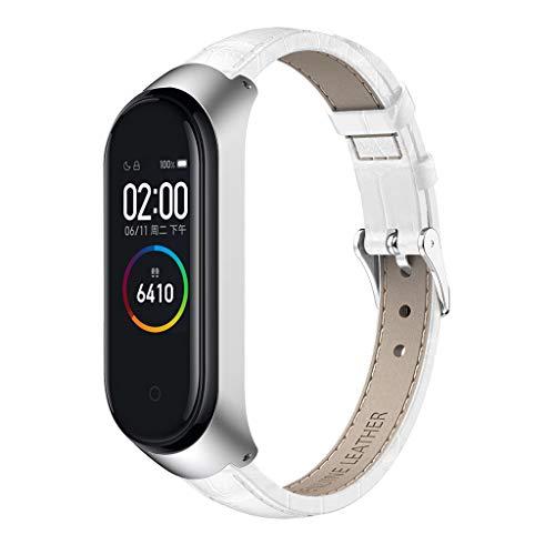 Für Xiaomi Mi Band 4 Watch Luxus Leder Uhrenarmband + Metallgehäuse, bloatboy Langlebig Leder Armband Ersatz Uhrenarmband (Weiß) - Weiß Uhrenarmbänder