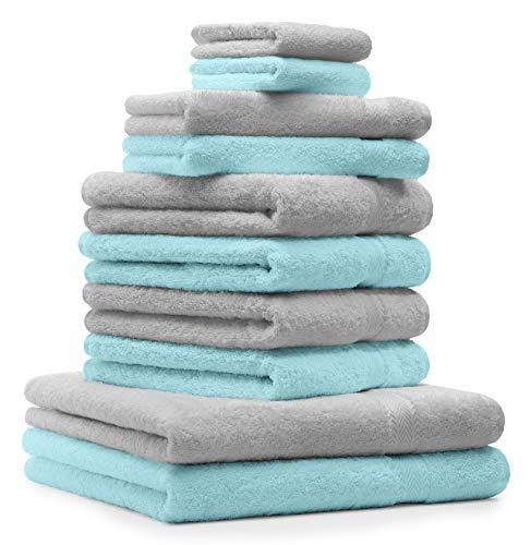 BETZ Lot de 10 Serviettes Set de 2 Serviettes de Bain 4 Serviettes de Toilette 2 Serviettes d'invité 2 Gants de Toilette 100% Coton Premium Colour Gris argenté, Turquoise