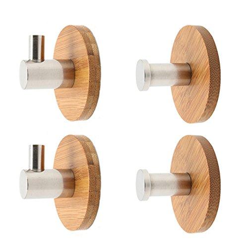 QiGui Handtuchhaken Haken Selbstklebend Bad und Küche Kleiderbügel Halter für Kleidung Mäntel Hüte Schlüssel Taschen Kleiderhaken Edelstahl & Bambus 4 Stück