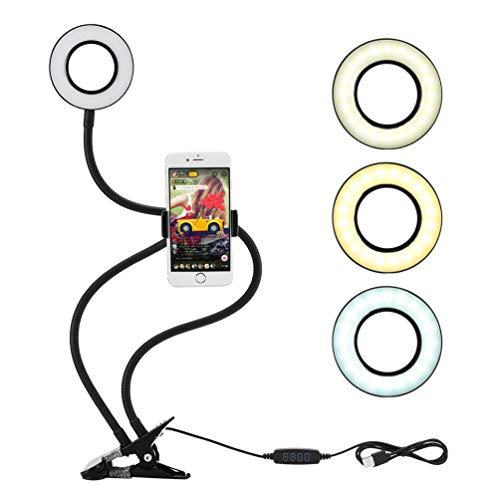 LEDGLE Led Ringlicht, Selfie Licht mit Handyhalter, Ring Light mit 3 Leuchtmodi und 10 Helligkeiten Stufen für Live Stream, YouTube, Live Makeup, Facebook, Samsung, Tablet, Laptop
