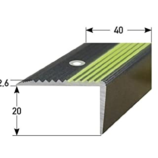 Stair Nosing Profile 50 m (50x 1 m) 20 x 40 mm Aluminium, Special Enamel, Phosphorescent Tread, Drilled, Dark Grey