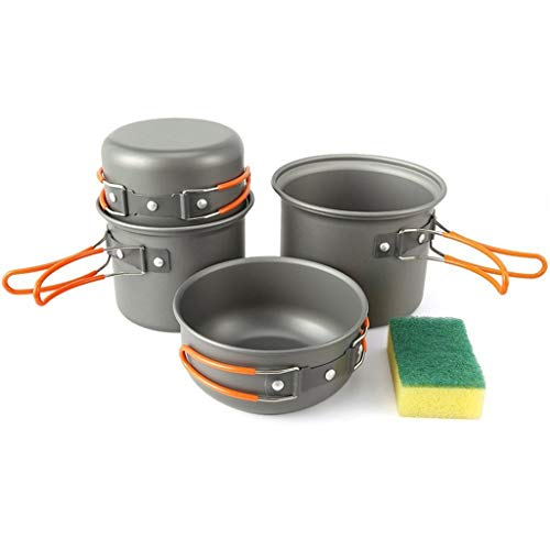 WUZHENG Portable Camping Kochgeschirr Set, Outdoor-Kochausrüstung Cookset Camp Pot Pan Schalen Mit Aufbewahrungstasche Für Outdoor-Wandern -
