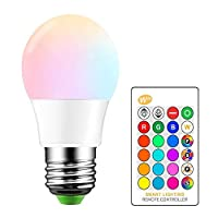 iLC RGB LED Light Bulb, Color Changing Light Bulb Dimmable 5W E27 Screw Base RGBW, Mood Light Flood Light Bulb - 16 Colored Choices - Infrared Remote Control Included