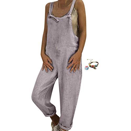 Damen Frauen Retro Latzhose Lässig Insgesamt Baggy Jumpsuits, Morbuy Leinen Taschen Playsuit Hose Lange Harem Casual Overalls Täglichen Trousers Pants (S,Grau)