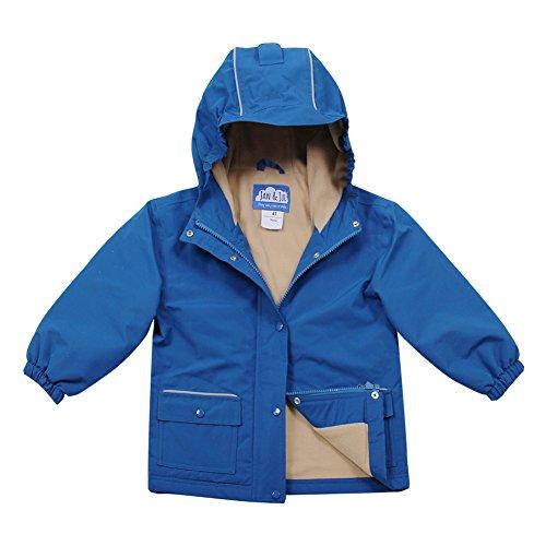 Jan & Jul Wasserdichte, Fleece-gefütterte Kinderregenjacke mit Kapuze (Blau, 4T) 4t Fleece