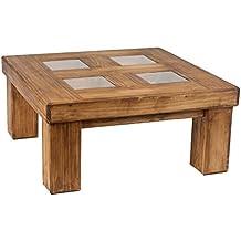 Mesa de centro rústica de madera de pino encerada tapa de cristal