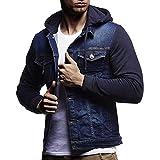 Hffan Herren Retro-Stil Herbst und Winter Einfache Mode Hoodie Denim Jacke Nähen Freizeit Kapuzenpullover Mantel Streetwear mit Taschen Jeansjacke(Blau,Medium)
