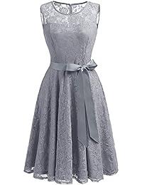 Dressystar Robe femme soirée/bal de vintage avec dentelle sans manches avec une ceinture