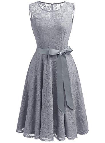 Dressystar DS0009 AbendKleid Ärmellos Kurz Brautjungfern Kleid Spitzen Rundhals Damen Kleider Grau L