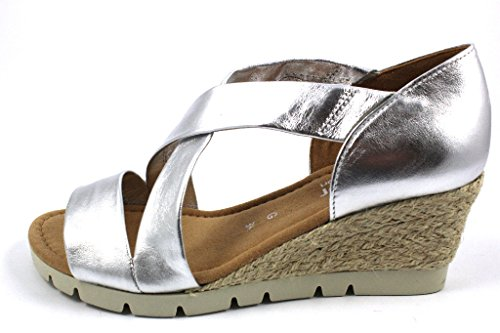 Gabor Shoes Comfort, Sandali con Zeppa Donna silber (Jute)