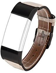 Für Charge 2 Zubehör Band, Wearlizer Luxe echtes Leder Ersatzband für Sport Fitness Tracker Fitbit Charge 2